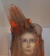 Sculpture with Hand Face Unique