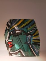 Glass Block Face Green