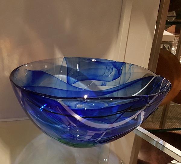 Kosta Boda Contrast Bowl Blue Large Crystal Of Sweden