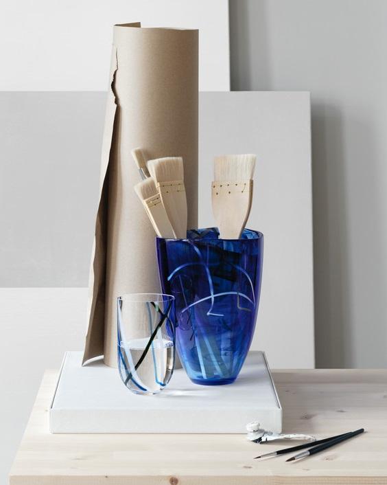 Kosta Boda Contrast Vase Blue Crystal Of Sweden