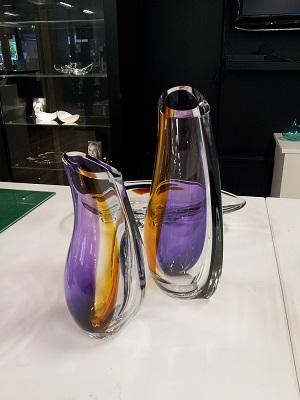 Kosta Boda Orchid Vase Lilac Amber Large Crystal Of Sweden