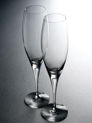 Intermezzo Satin Champagne Glass Flute - Orrefors